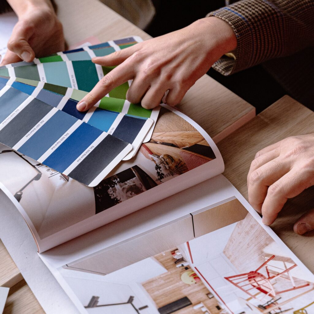 Interior design consultation with color pallets.
